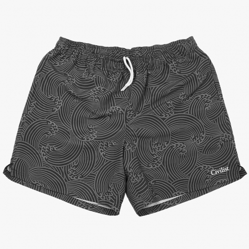 Civilist – Wave Swim Short – Black / Grey