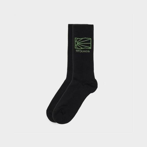 Rassvet – Sun Logo Socks – Black / Green