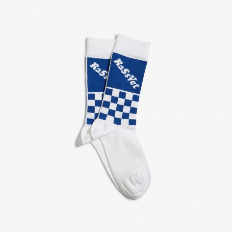 Rassvet – Chekered Socks – White / Blue