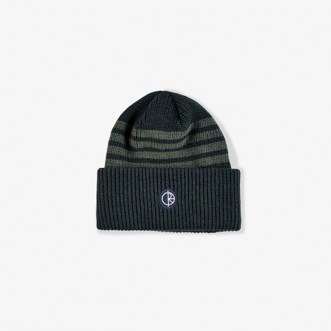 Polar - Double Fold Merino Beanie - Green Stripe