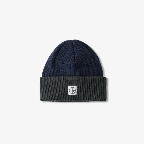 Polar - Double Fold Merino Beanie - Navy/Grey