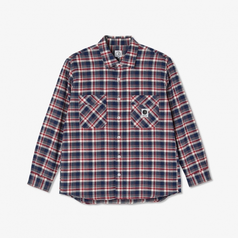 Polar - Flannel Shirt - Navy/Red
